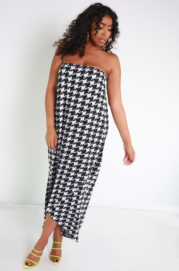 Black Strapless Layered Maxi Dress Plus Sizes