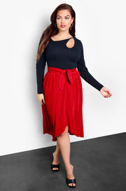 Burgundy Black High Low Velvet Midi Skirt Plus Size