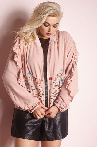 "Unbranded. ""Let It Go"" Floral Bomber Jacket"