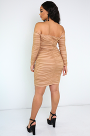Mocha Ruched Over The Shoulder Midi Dress