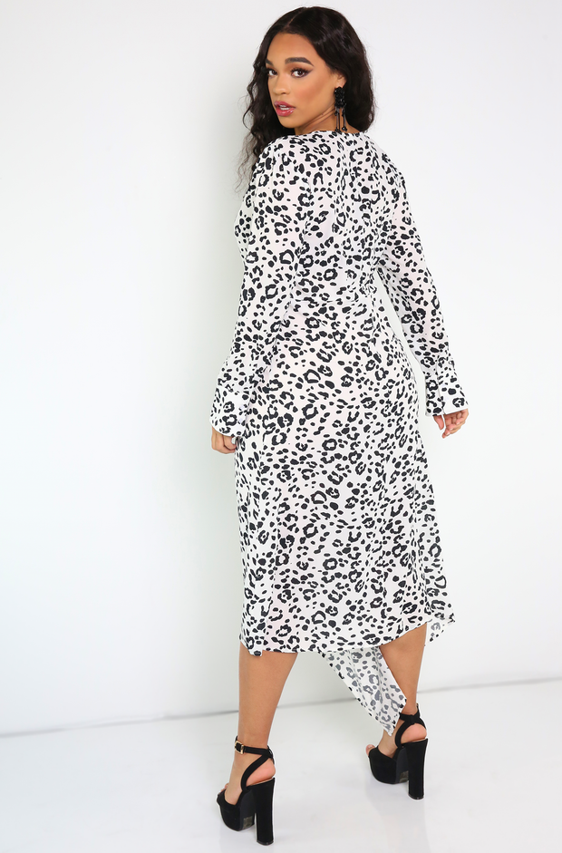 White Zip Up Leopard Maxi Dress Plus Sizes