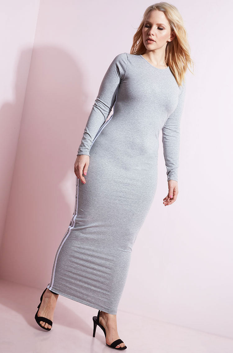 Gray 2 Striped Maxi Dress plus sizes