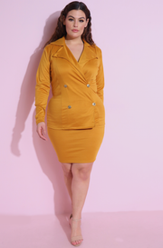 Mustard Ponte Bodycon Mini Skirt Plus Sizes