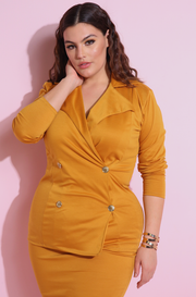 mustard Double Breasted Blazer plus size