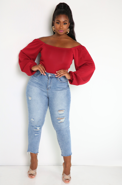 Burgundy Over The Shoulder Bodysuit Plus Sizes