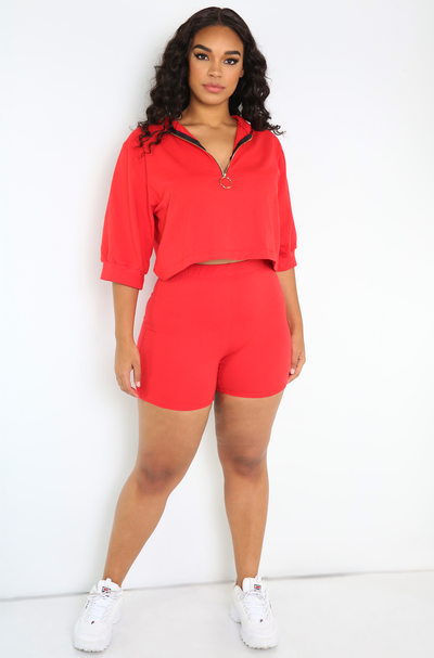 Red Short Leggings Plus Sizes