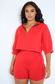Red Oversized Top With Zipper Plus Sizes