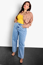 Khaki Cropped Cargo Jacket Plus Sizes