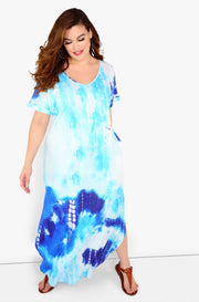 Light Blue Tie Dye Maxi Dress Plus Sizes