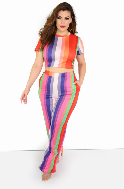Orange Striped Wide Leg Pants Plus Sizes