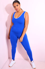 Royal Blue One stripe Pull Up Jumpsuit plus sizes