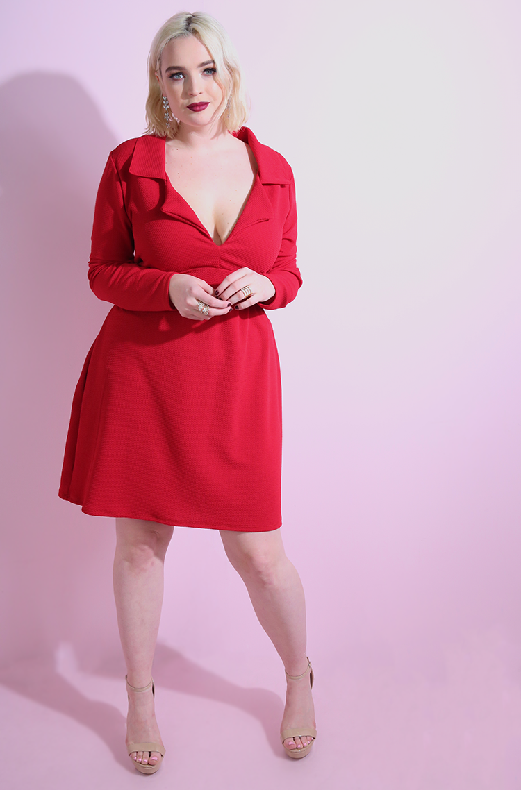 Red Collared A-Line Mini Dress plus sizes