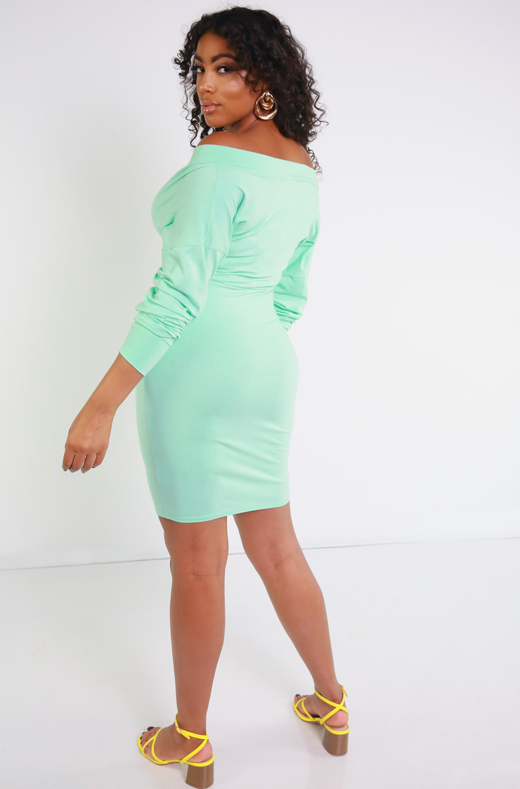 Mint Over The Shoulder Bodycon Mini Dress Plus Sizes