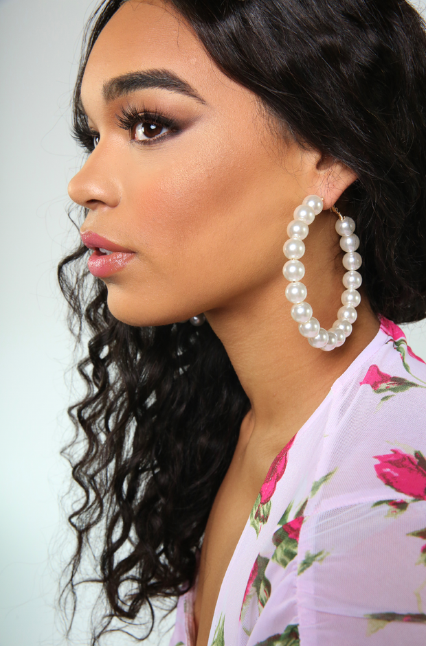 White Faux Pearl Hoops