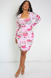 roses pink Ruched Long Sleeve Mini Dress plus sizes