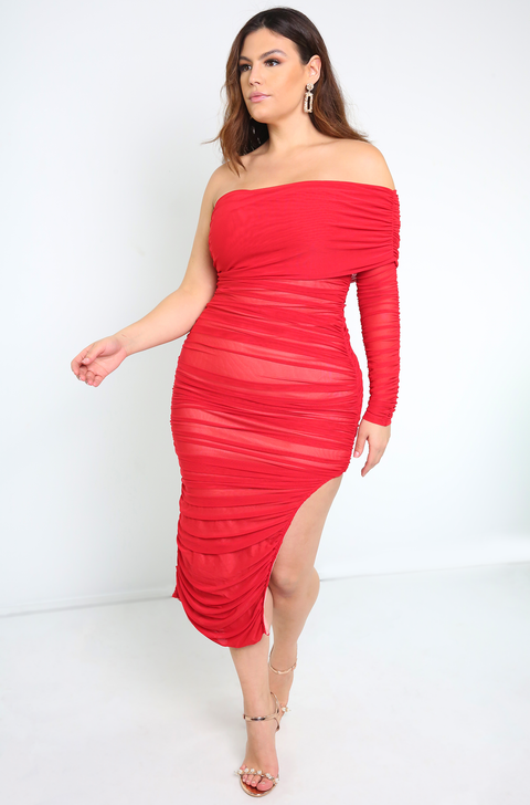 Red Mesh Ruched Over The Shoulder Midi Dress Plus Sizes