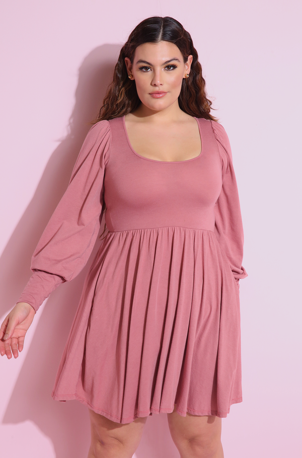 Mauve Skater Mini Dress With Pockets Plus Sizes