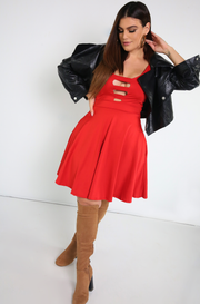 Red Mini Skater Dress With Pockets Plus Sizes