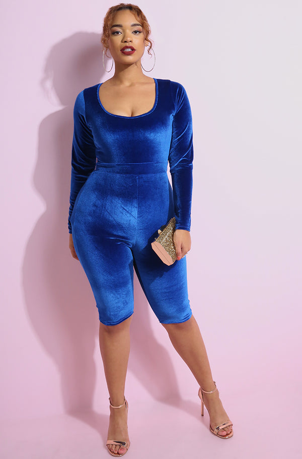 Royal Blue Velvet Scoop Neck Cropped Jumpsuit plus sizes