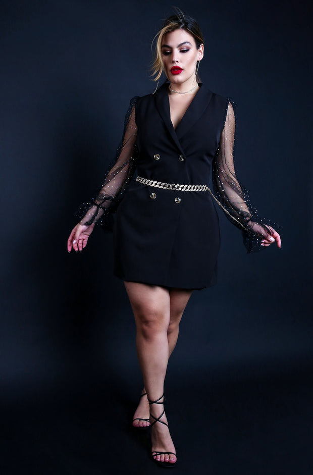 Plus Size Black Blazer Mini Dress with Mesh Long Sleeves