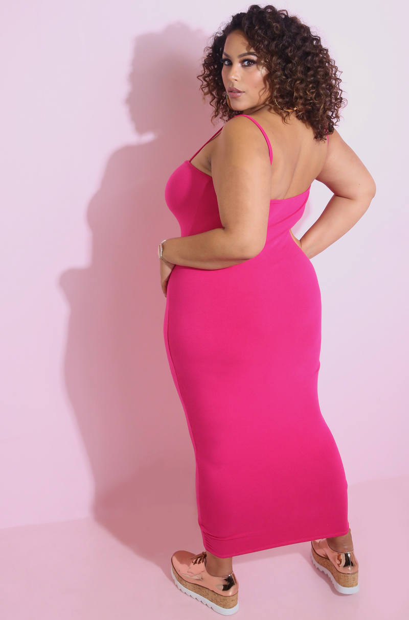 Fuchsia Strappy Bodycon Midi Dress Plus Sizes