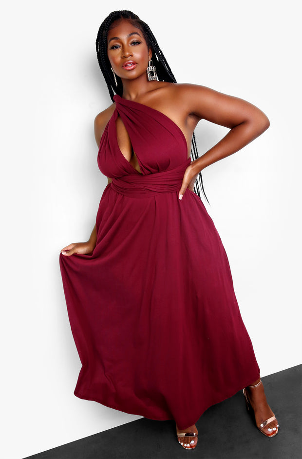 Burgundy Wrap Around Skater Maxi Dress w. Pockets Plus Sizes