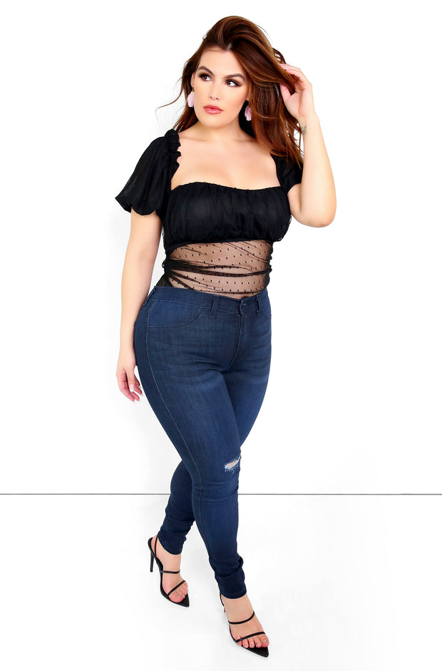 Black Puff Sleeve Mesh Bodysuit Plus Sizes