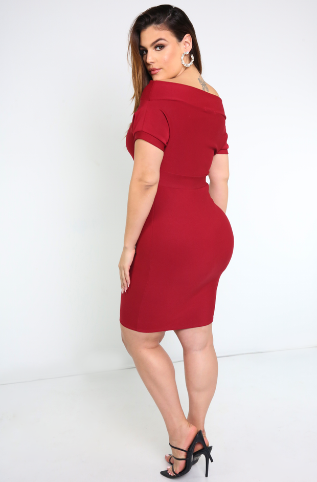 Burgundy Over The Shoulder Top Mini Dress Plus Sizes