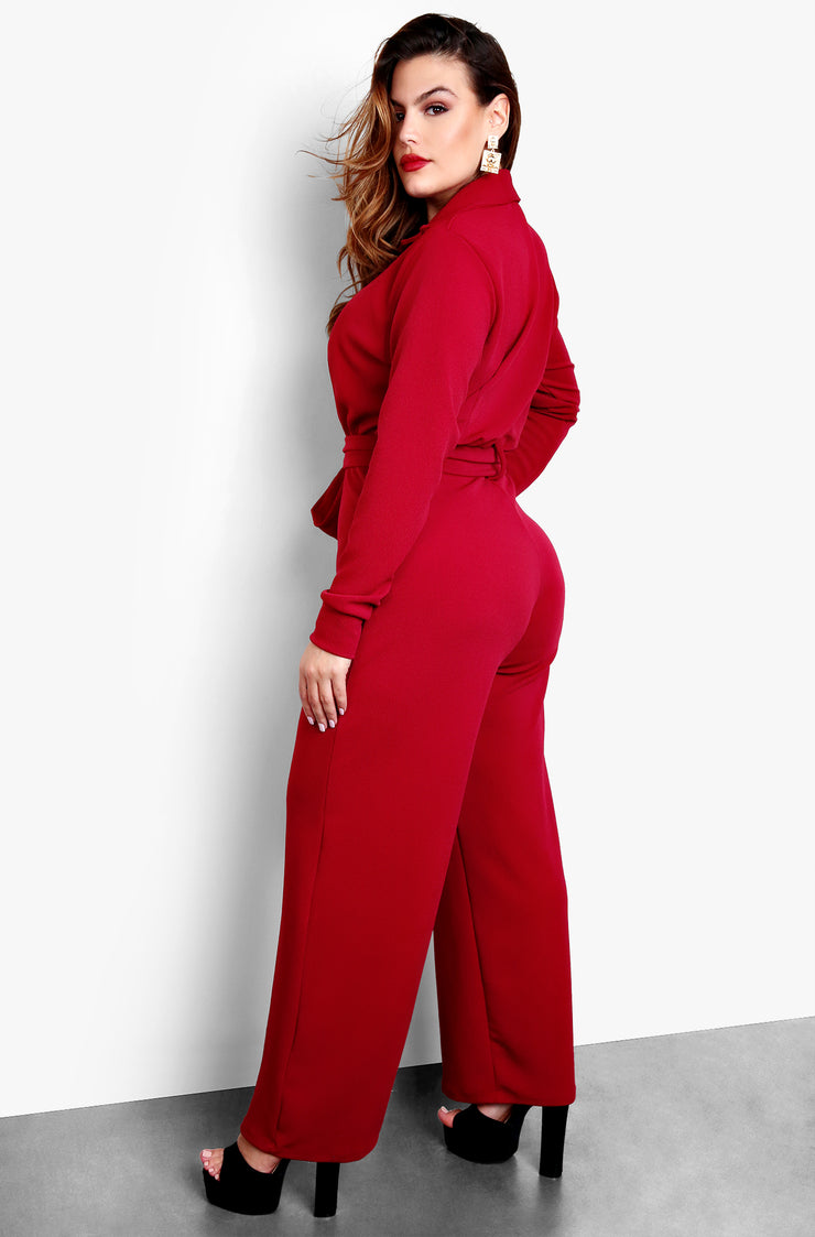 Burgundy Button Up Wide Leg Jumpsuit Plus Sizes
