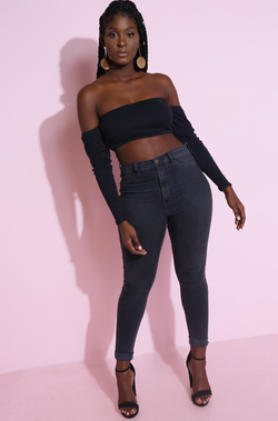 Black Over The Shoulder Crop Top Detached Sleeves Plus Sizes