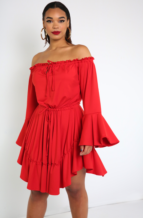 Red Flutter Sleeve Skater Mini Dress Plus Sizes