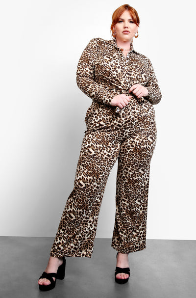 Brown Leopard Wide Leg Pants Plus Sizes