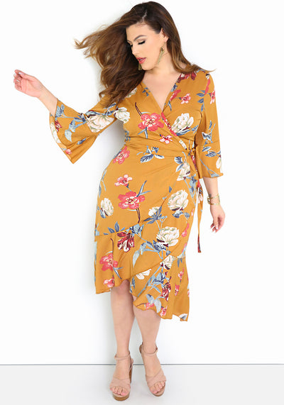 "Rebdolls ""No Denying"" Faux Wrap Maxi Dress Plus Size"