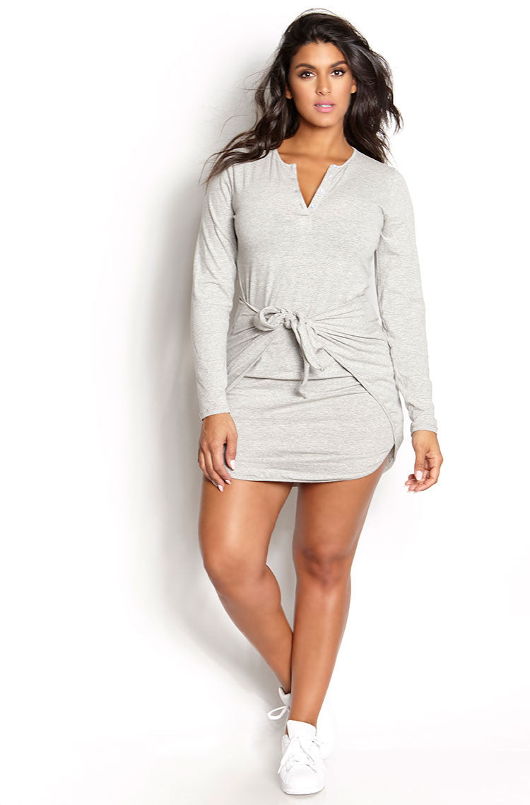 Gray Tie Waist Bodycon Mini Dress plus sizes