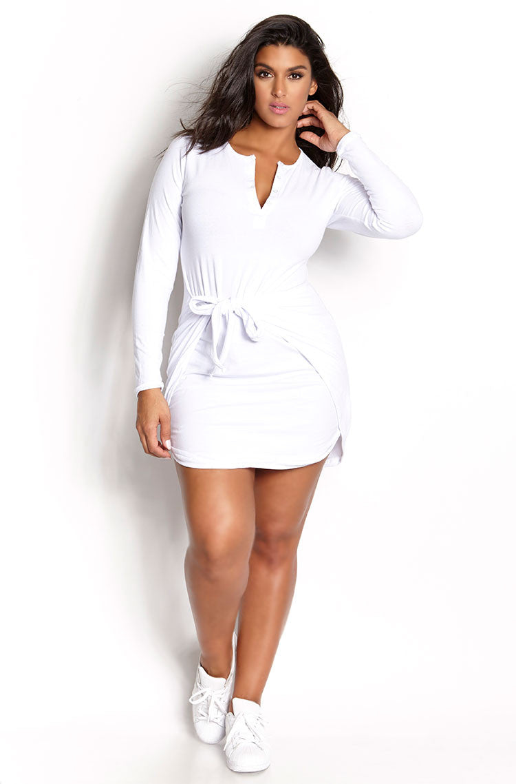 White Tie Waist Bodycon Mini Dress plus sizes