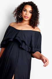 Black Plus Size Over The Shoulder Ruffled Maxi Dress