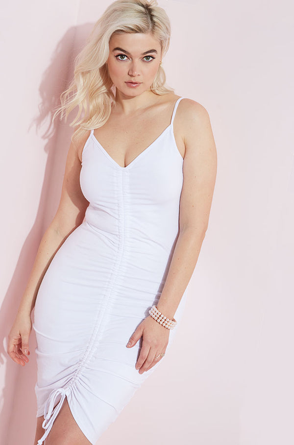 White Ruched Mini Dress plus sizes