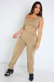 Mocha One Shoulder Crop Top Plus Sizes