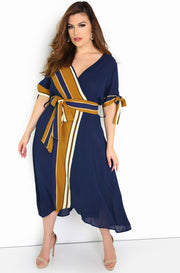 Blue Faux Wrap Midi Dress Plus Size