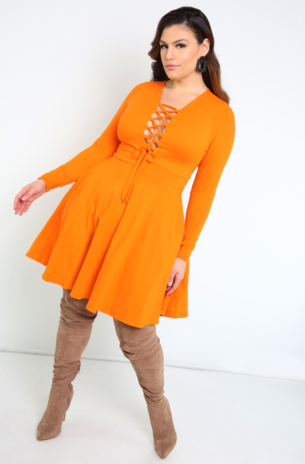 Orange Caged Skater Mini Dress With Pockets Plus Sizes