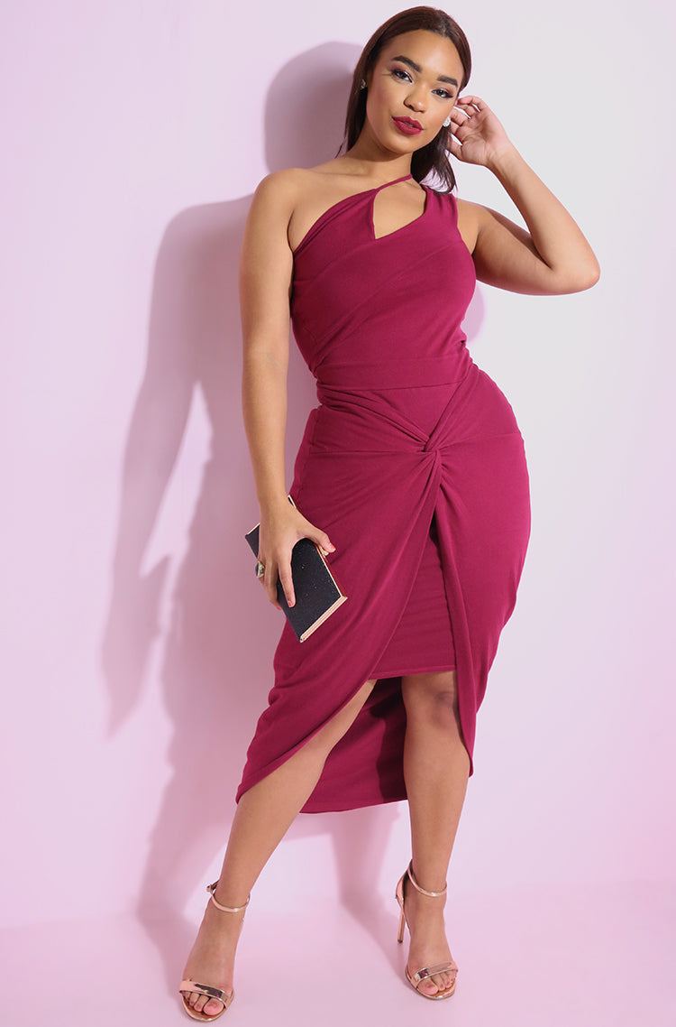 Burgundy Asymmetrical Mini Dress With Train plus sizes