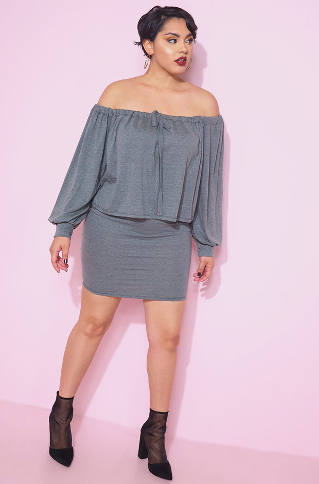 Gray Oversized Top & Bodycon Mini Skirt Plus sizes