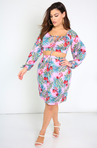 Pink Floral A-Line Mini Skirt Plus Sizes
