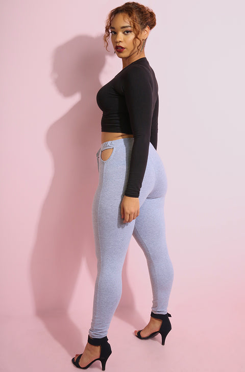 Gray Cut-Out Leggings Plus Sizes
