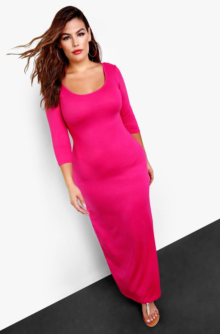 Fuchsia Long Sleeve Bodycon Maxi Dress Plus Sizes