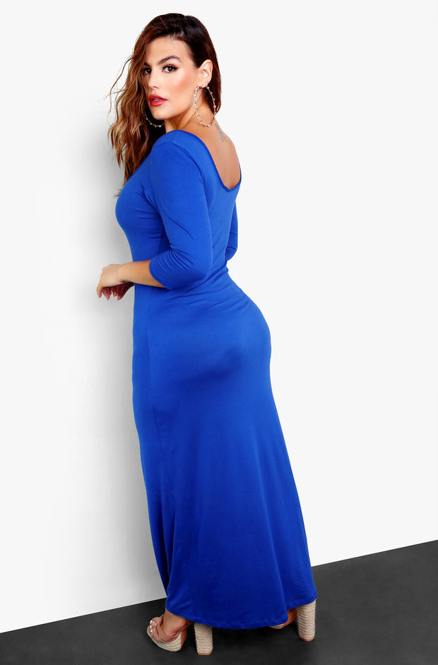 Royal Blue Long Sleeve Bodycon Maxi Dress Plus Sizes