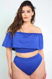 Royal Blue Over The Shoulder Ruffled Swimsuit Top Plus Sizes