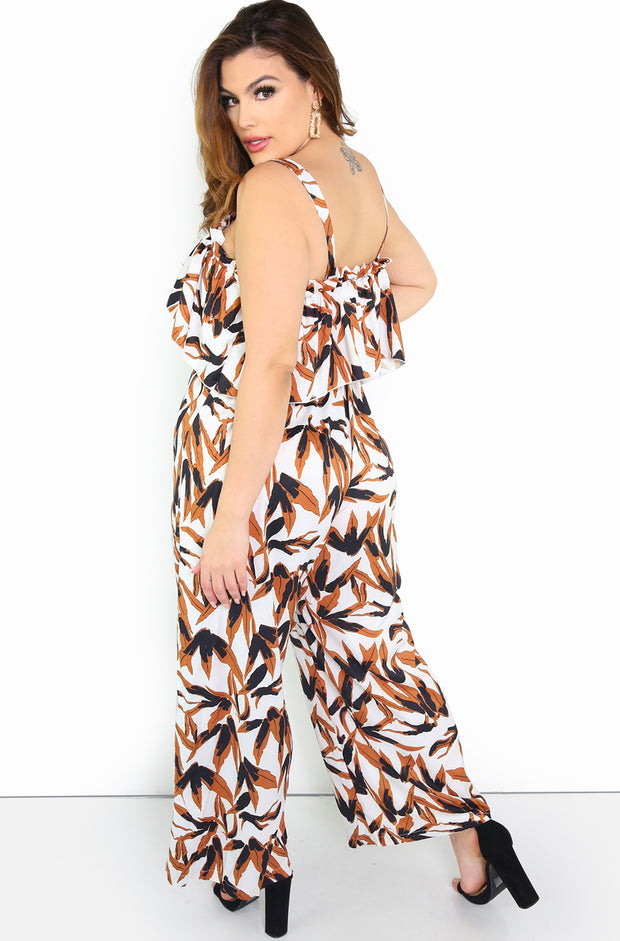 Beige Ruffled Culotte Jumpsuit Plus Size