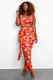Red Floral Tank & Maxi Skirt Set Plus Sizes