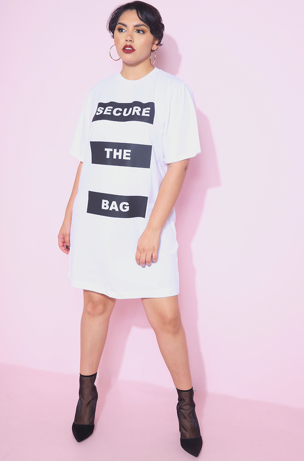 secure the bag white oversized t-shirt dress plus sizes